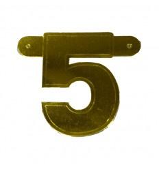 Banner cijfer 5 goud 1 pcs