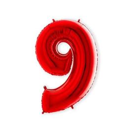 Cijffer 9 Rood 100 cm wordt geleverd met helium kan alleen bezorgd worden in Berkel en Rodenrijs, Bergschenhoek, Bleiswijk, pijnacker  of in de winkel afgehaald worden