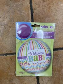 Folie ballon  Welcome baby gevuld met helium kan alleen in Berkel en Rodenrijs , Bergschenhoek Bleiswijk of Pijnacker geleverd worden of bij de winkel opgehaald worden