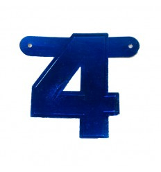 Banner cijfer 4 Blauw 1 pcs