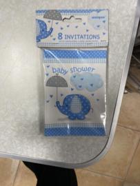 8 Invitations baby shower blauw