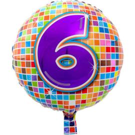 Folie ballon 6 jaar plus minus 45 cm wordt met helium geleverd kan alleen bezorgd worden in Berkel en Rodenrijs, Bergschenhoek, Bleiswijk, pijnacker  of in de winkel afgehaald worden