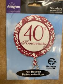 Folie ballon 40 jaar getrouwd geleverd zonder helium