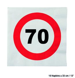 70 Jaar: 16 napkins plus minus 23 cm