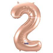 """Cijffer 2  Rose Gold 34"""" wordt geleverd met helium  kan alleen bezorgd worden in Berkel en Rodenrijs, Bergschenhoek, Bleiswijk, pijnacker  of in de winkel afgehaald worden"""