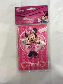 Minnie mouse uitnodigings kaarten 6 stuks