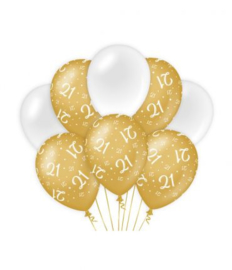 21  jaar Ballonnen 8 stuks goud wit