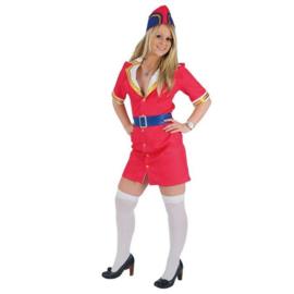 Kostuum stewardess pink & fly deluxe, maat 36. Kostuum bestaat uit: jurk en stewardess hoed.
