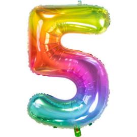 Folie ballon gekleurd Cijfer 5  plus minus 86 cm met helium kan alleen bezorgd worden in Berkel en Rodenrijs, Bergschenhoek, Bleiswijk, pijnacker of in de winkel afgehaald worden