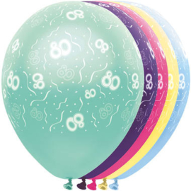 Ballonnen 80 jaar 5 stuks