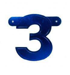 Banner cijfer 3 Blauw 1 pcs
