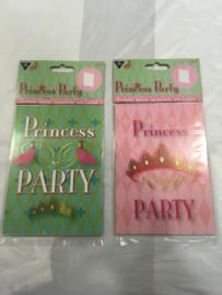 Uitnodigingskaartem prisses party 6 stuks