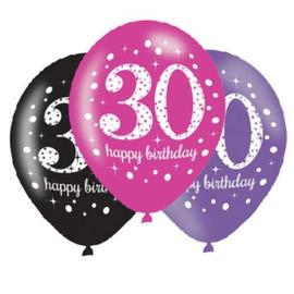 Ballonnen sparkling pink '30' in een assortiment van metallic kleuren. 11 inch ballonnen (Ø28cm), geschikt voor lucht- en heliumvulling.