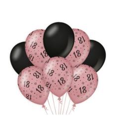 18 jaar Ballonnen 8 stuks rosé zwart