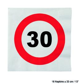 30 Jaar: 16 napkins plus minus 23 cm