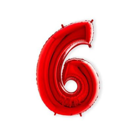 Cijffer 6 Rood 100 cm wordt geleverd met helium kan alleen bezorgd worden in Berkel en Rodenrijs, Bergschenhoek, Bleiswijk, pijnacker  of in de winkel afgehaald worden