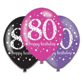 Ballonnen 80 zwart rose paars 6 stuks
