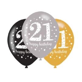 Ballonnen 21 jaar goud zilver zwart 6 stuks