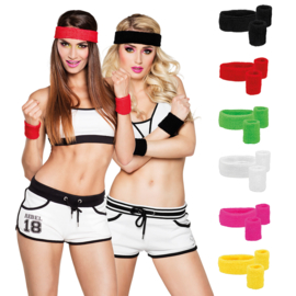 1 x headband en 2 wristbands zwart