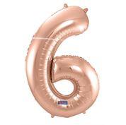 """Cijffer 6  Rose Gold 34"""" wordt geleverd met helium  kan alleen bezorgd worden in Berkel en Rodenrijs, Bergschenhoek, Bleiswijk, pijnacker  of in de winkel afgehaald worden"""