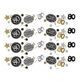 confetti 80 jaar goud zwart zilver
