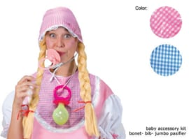 Bonnet, bib, jumbo pacilier Roze