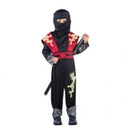 Ninja Dragon Maat 10-12 Jaar Jumpsuit , hood,amour with belt.