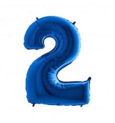 Folie ballon Cijfer 2 Blauw  plus minus 102 cm wordt zonder helium geleverd