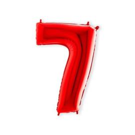 Cijffer 7 Rood 100 cm wordt geleverd met helium kan alleen bezorgd worden in Berkel en Rodenrijs, Bergschenhoek, Bleiswijk, pijnacker  of in de winkel afgehaald worden