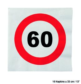 60 Jaar: 16 napkins plus minus 23 cm