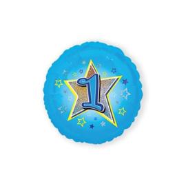 Folie ballon nummer 1 blauw 45 cm wordt geleverd zonder helium