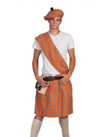 Highlander Orange Kilt, Sash, halt,belt with purse size in one