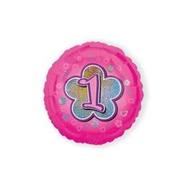 Folie ballon nummer 1 roze 45 cm wordt geleverd zonder helium