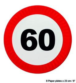 60  jaar: 8 paper plates plus minus 23 cm
