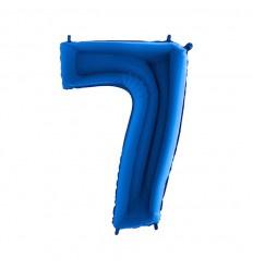 Folie ballon Blauw Cijfer 7 plus minus 102 cm  wordt geleverd met helium kan alleen bezorgd worden in Berkel en Rodenrijs, Bergschenhoek, Bleiswijk en pijnacker  of in de winkel afgehaald worden