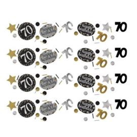 Confetti sparkling gold '70'. Confetti in metallic zilver, goud en zwart plastic met de bewuste leeftijd en een assorti aan extra vormen.