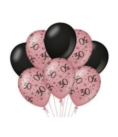 30 jaar Ballonnen 8 stuks Rose Black
