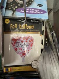 Folie ballon i love you geleverd 46 cm met helium in Berkel en Rodenrijs. Bergschenhoek bleiswijk pijnacker of afhalen in de winkel