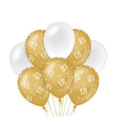 16 jaar Ballonnen 8 stuks goud wit