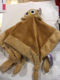 knuffel uiltje  bruin met fop bevestiging