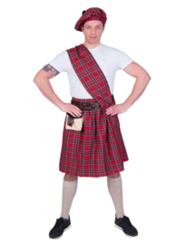 Highlander Red Kilt, Sash, halt,belt with purse size in one