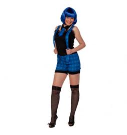 School meisje blauw maat 42  Top with suspenders, neck tie