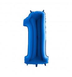Folie ballon Blauw Cijfer 1 plus minus 102 cm wordt geleverd met helium kan alleen bezorgd worden in Berkel en Rodenrijs, Bergschenhoek, Bleiswijk en pijnacker  of in de winkel afgehaald worden