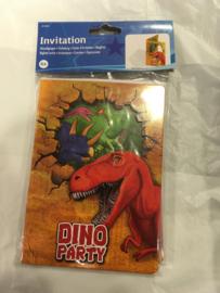 Dinosaur invitation 6 stuks