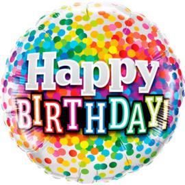 folie ballon Happy Birthday  wordt geleverd zonder helium