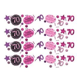 Confetti sparkling pink '70'. Confetti in metallic zilver, goud en zwart plastic met de bewuste leeftijd en een assorti aan extra vormen.