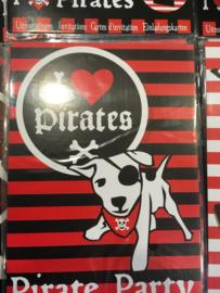 piraten party uitnodigingskaarten 6 stuks