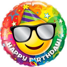 folie ballon Happy Birthday smile wordt geleverd met  helium kan alleen geleverd worden in Berkel en Rodenrijs Bergschenhoek Bleiswijk en Pijnacker of kunnen afgehaald wordt in de winkel