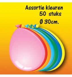 Assorti Gekleurde ballonnen 30 cm 50 stuks
