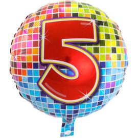 Folie ballon 5 jaar plus minus 45 cm wordt met helium geleverd kan alleen bezorgd worden in Berkel en Rodenrijs, Bergschenhoek, Bleiswijk, pijnacker  of in de winkel afgehaald worden